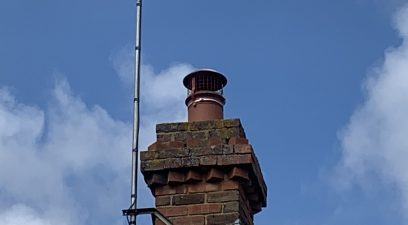 Chimney cowl fitted to stop birds going down the chimney